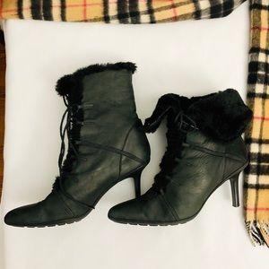 Ankle Tie-up Fur Black Boots- 8 1/2